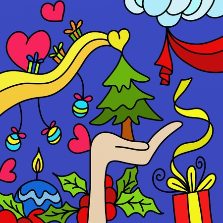 Christmas abstract background with heart Stock Photo - 10659222