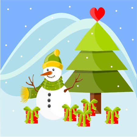 Christmas landscape with Snowman Vector