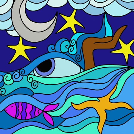 moon fish: Abstract with ocean Stock Photo