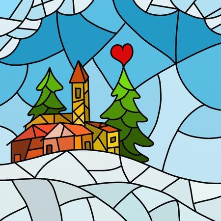 christmas church:  Christmas abstract landscape