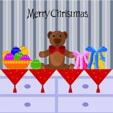 Christmas background with teddy bear Vector