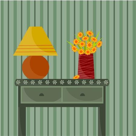 flower lamp: vase of flowers Illustration