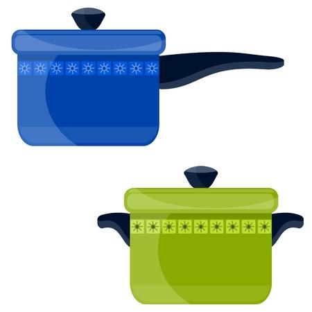 pots pans: colored pots Illustration