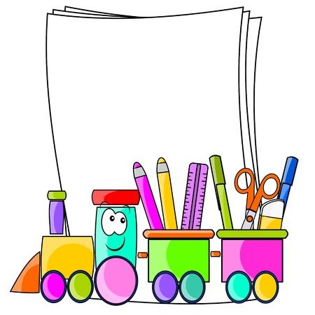 ni�os con l�pices: tren de la escuela