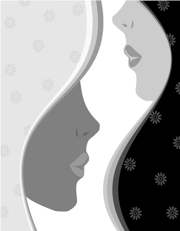 cutting hair: background profile of women Illustration