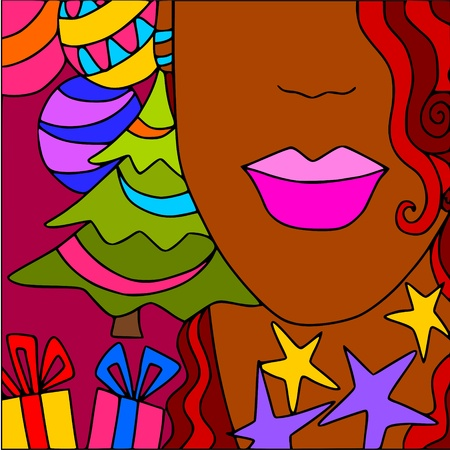 face card: christmas  woman Illustration