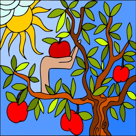 adam: apple tree Illustration
