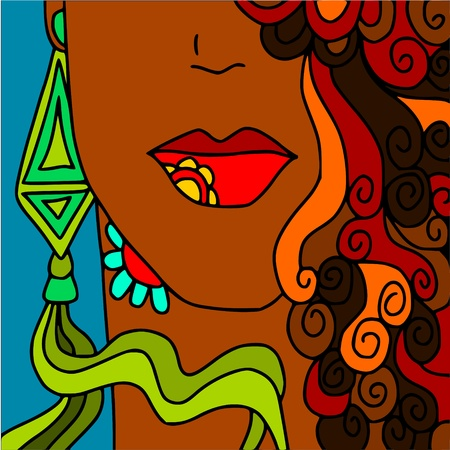 earrings: abstract woman  Illustration