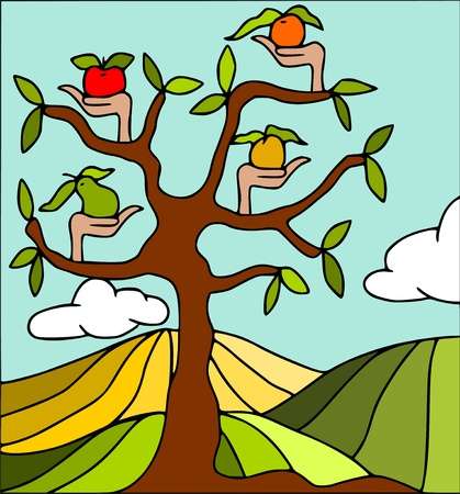 mix fruit: abstract tree