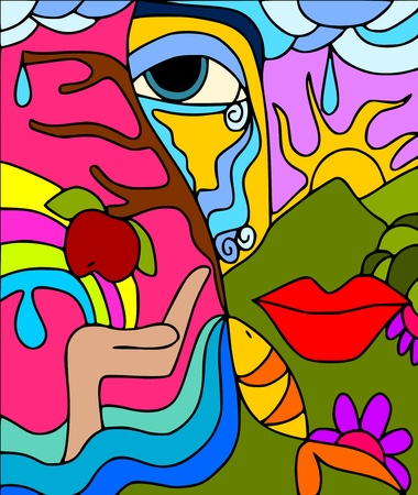 rainbow fish: abstract nature Illustration