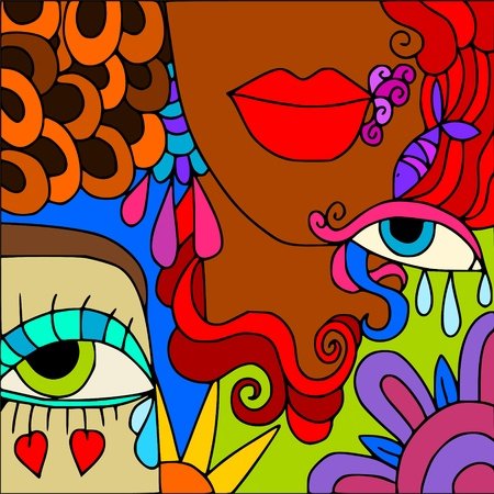 eye drops: abstract face