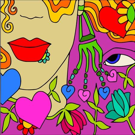 blonde blue eyes: face love Illustration
