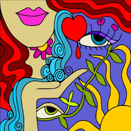 waterfall:  love Illustration