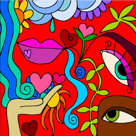 waterfall: abstract love Illustration