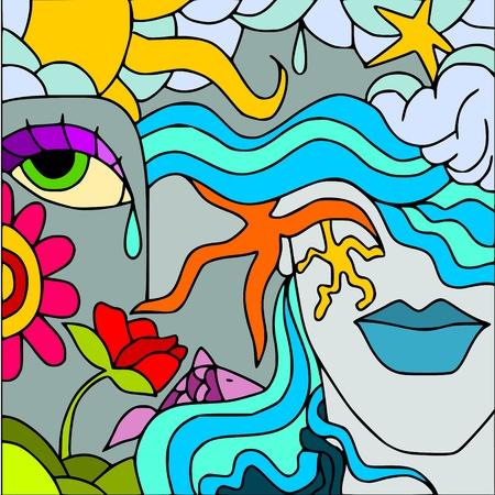 fondali marini: faccia abstract