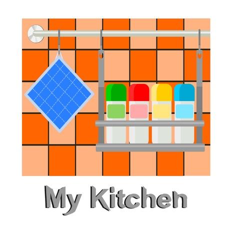 pot holder: kitchen utensils Illustration