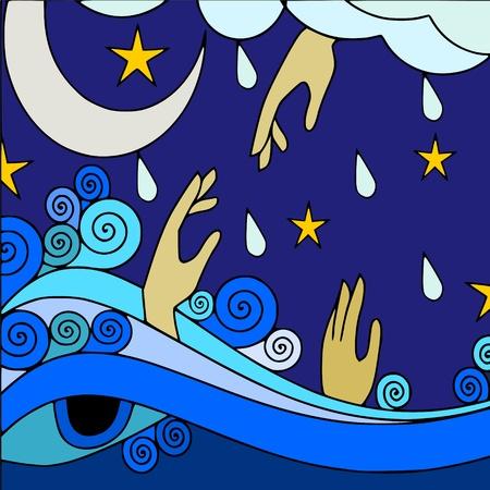 ahogandose: inundaci�n Vectores