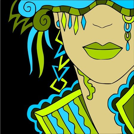 fantasy woman: Carnival Illustration