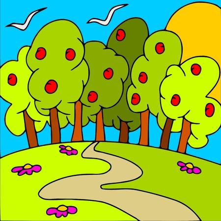 apple trees Stock Vector - 12493140