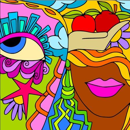 열정: 여자의 얼굴과 추상적 인 배경