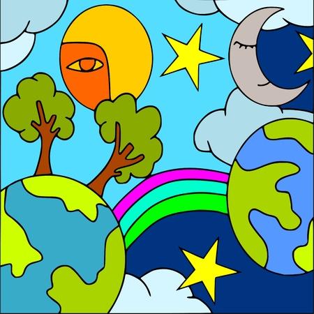 sonne mond und sterne: abstrakten Hintergrund mit Planeten Illustration
