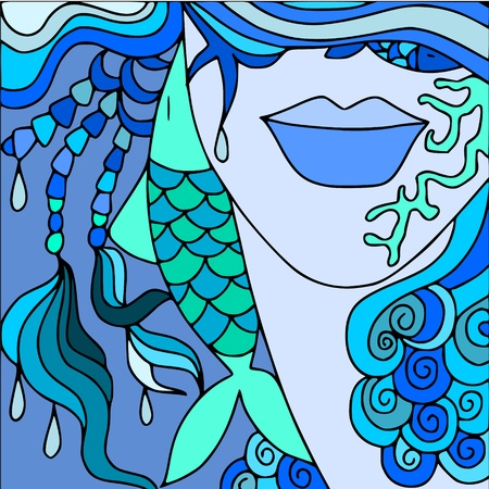 woman underwater: abstract background with face and sea Illustration