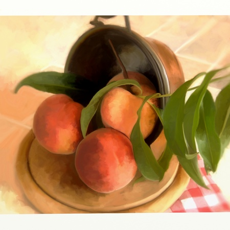 digital   painting: basket of peaches  Stock Photo