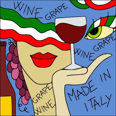 oeil dessin: conception abstraite avec le vin et les raisins