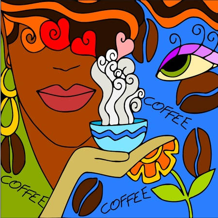 women coffee: abstract background with face to coffee