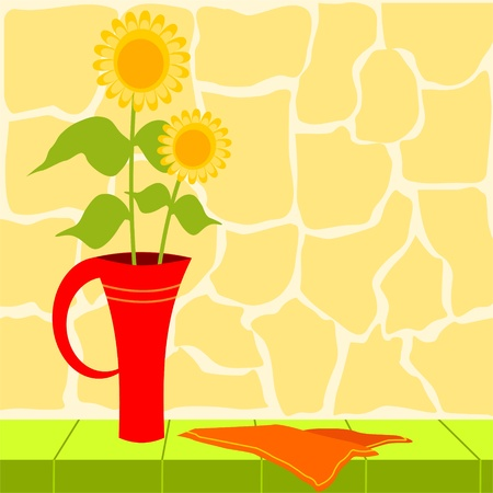 vase with sunflowers in the garden Vector