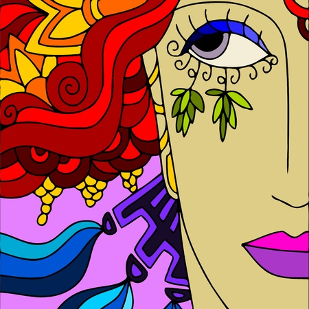 fantasy makeup: abstract background with colored face