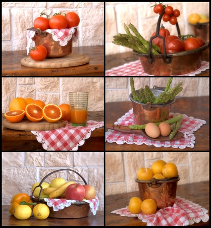 collage with fruit and vegetables photo