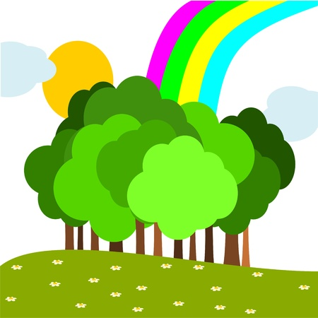 background with trees and rainbow Vector