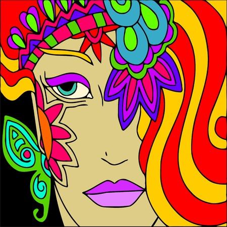 femme masqu�e: Fond abstrait avec une femme au carnaval Illustration