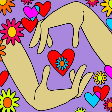 abstract background with heart in hands Vector