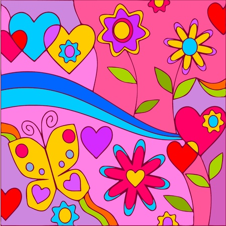 abstract background with flowers and butterflie
