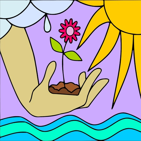 mother earth: abstract background with flower in hand