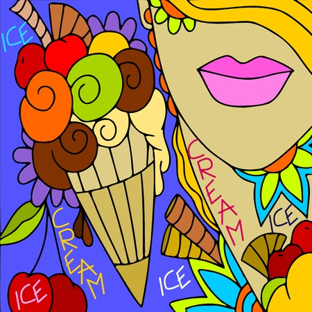desserts: abstract background with woman and ice cream