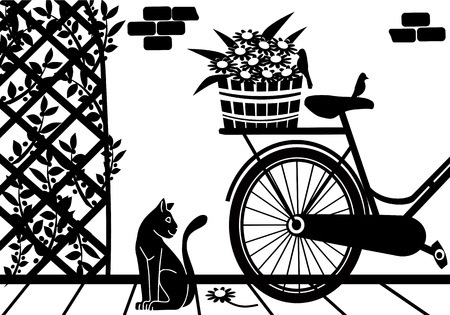 background with a cat in the garden Vector