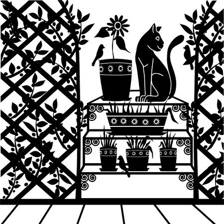 background with a cat in the garden Stock Vector - 12851014