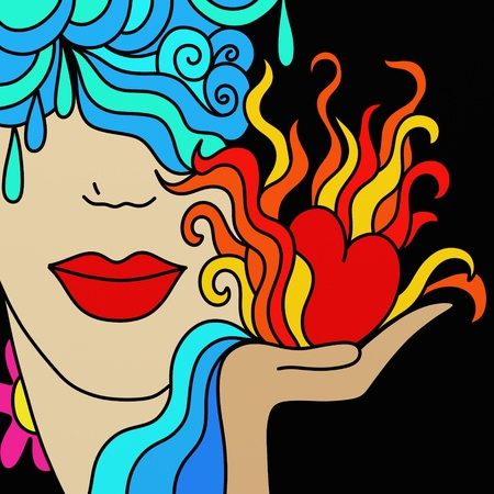 hands fire passion: abstract background with flaming heart and face of woman