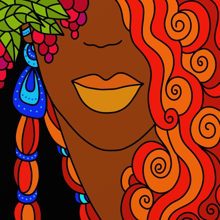 dark complexion: abstract background with woman with red hair