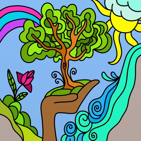 abstract background with tree and rainbow photo