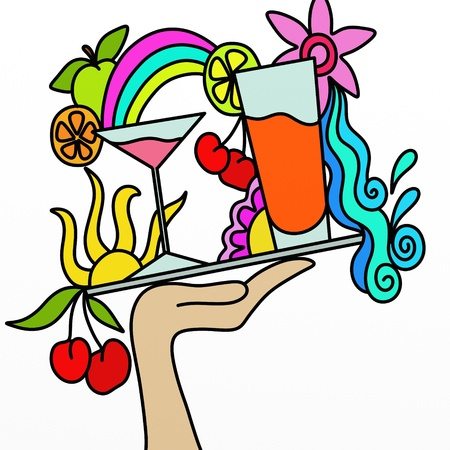 rainbow cocktail: resumen de antecedentes con una bandeja de c�cteles Foto de archivo