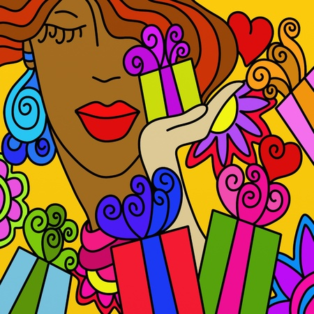 abstract background with face and gifts