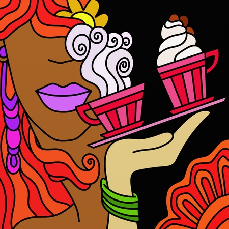 abstract illustration with coffee and face of woman illustration