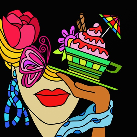 abstract illustration with cake in a cup and a woman illustration
