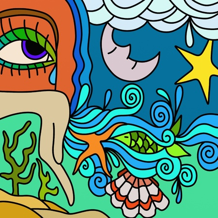 abstract illustration with the sea at night illustration