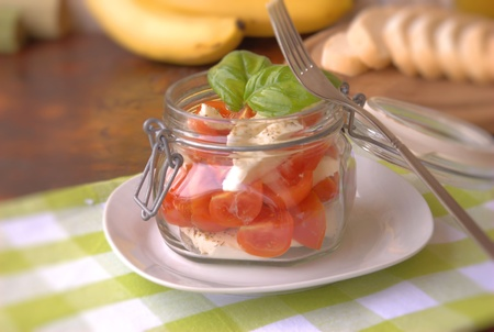 Caprese salad in a glass jar Stock Photo - 13219177