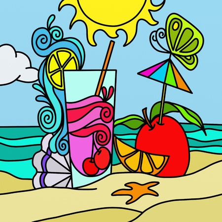 illustration with drink on beach illustration